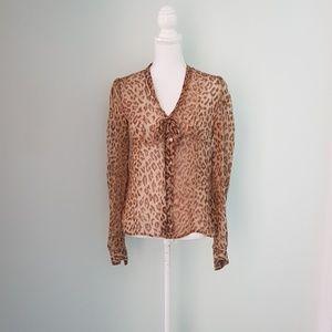 D&G cheeta print pussy-bow blouse